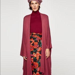 NWT Zara Wine Red Oversized Flowing Open Cardigan